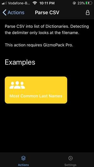 gizmopack parsing CSV files