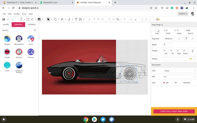 using Gravit Designer on Chromebook