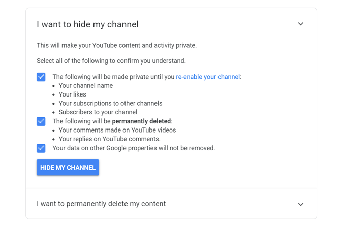 Hiding YouTube channel to delete all comments