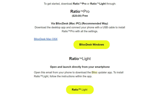 Email from Blloc with both Ratio Pro and Ratio Light