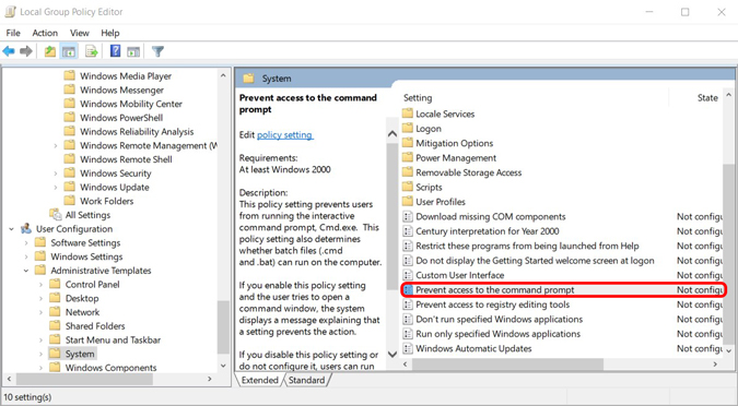 disabling command prompt entirely using group policy