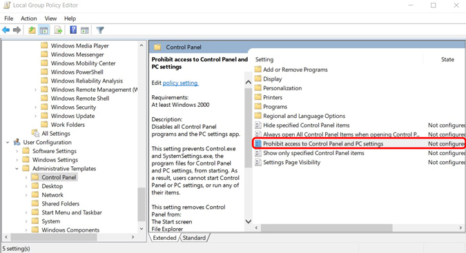Blocking the access to control panel using Group Policy