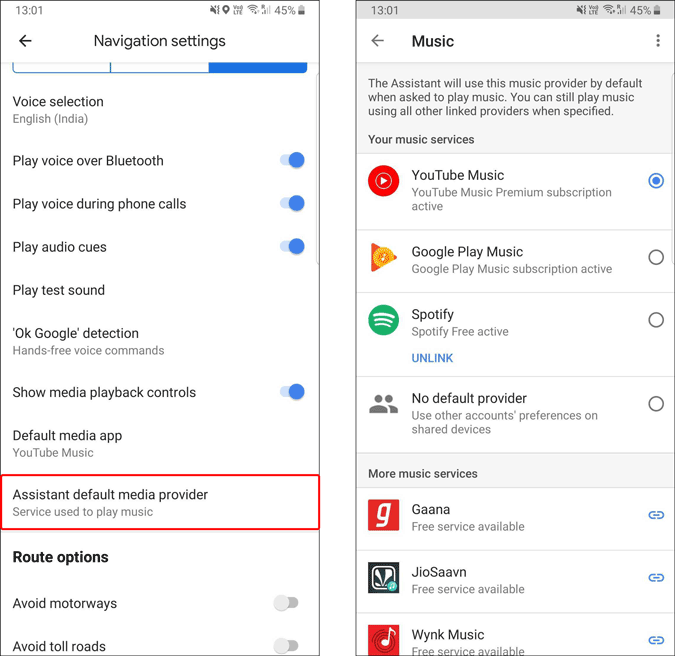 Changing assistant default media provider in Google Maps
