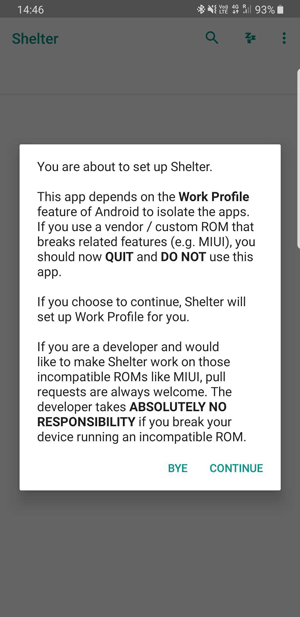 shelter app not supported
