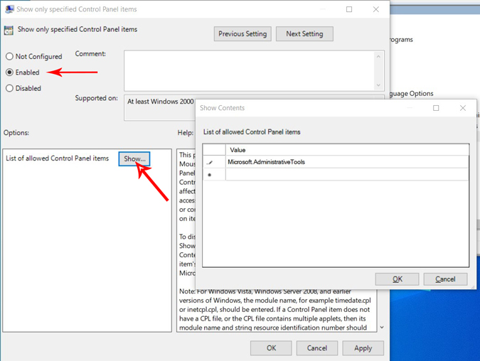 Allowing only few fuctions on the control panel