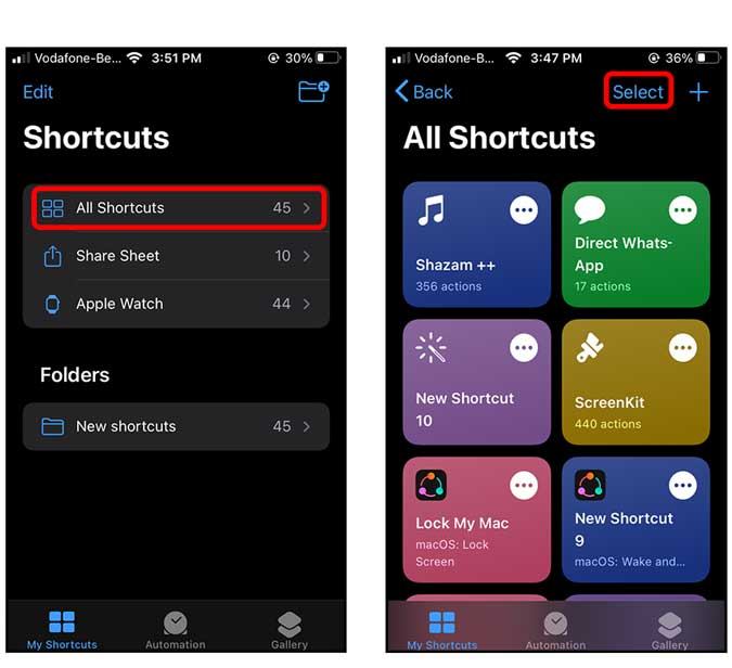 open all shortcuts and start selecting all the shortcuts you want to move