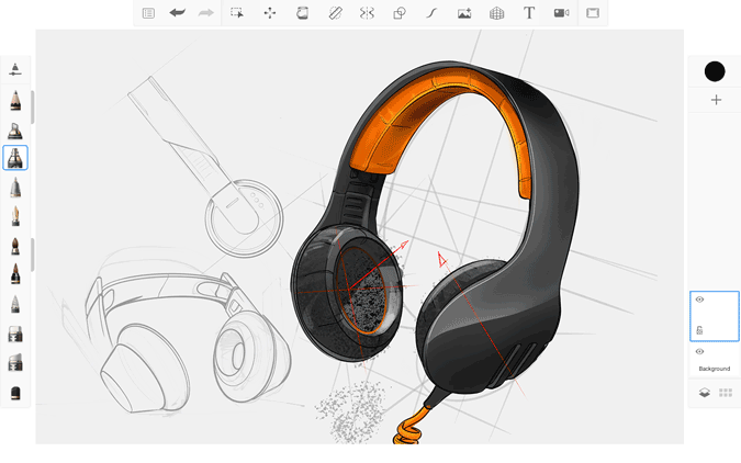 drawing headphones on sketchpad on Chromebook