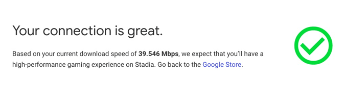 stadia Internet connection speed test