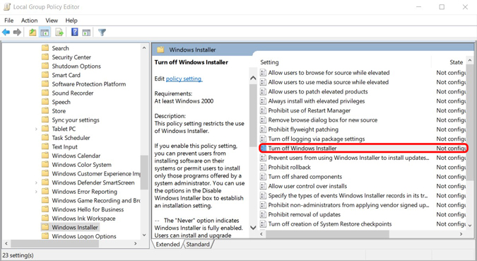 Disabling software installation using group Policy