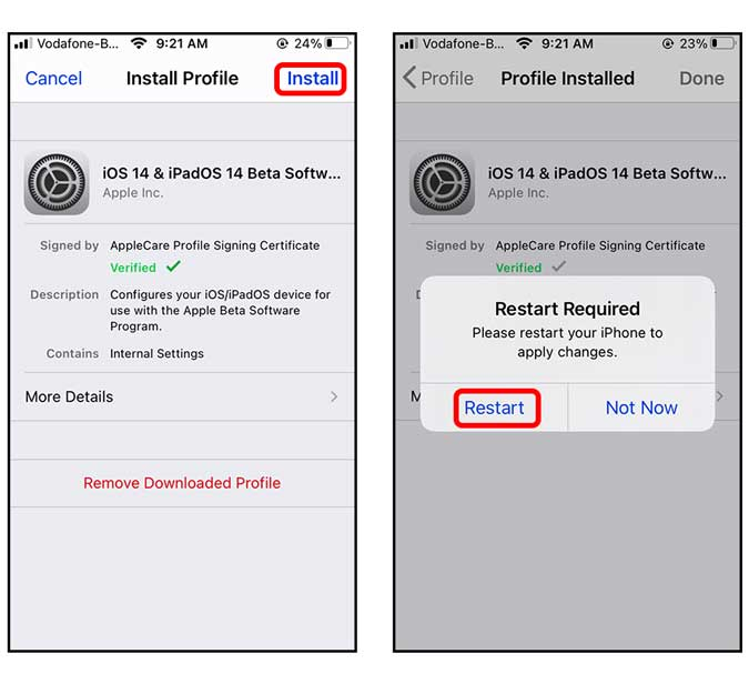 install a profile and restart your iPhone