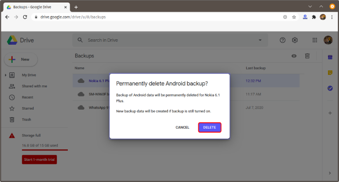 delete-google-drive-android-backup - Google Storage Full