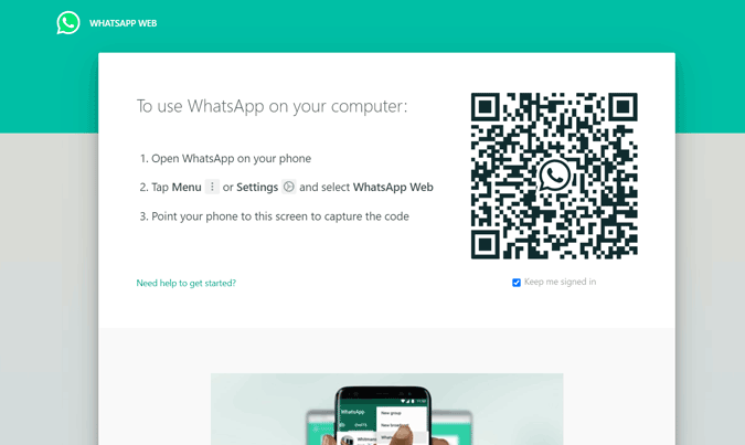 An image showing QR code on whatsapp web