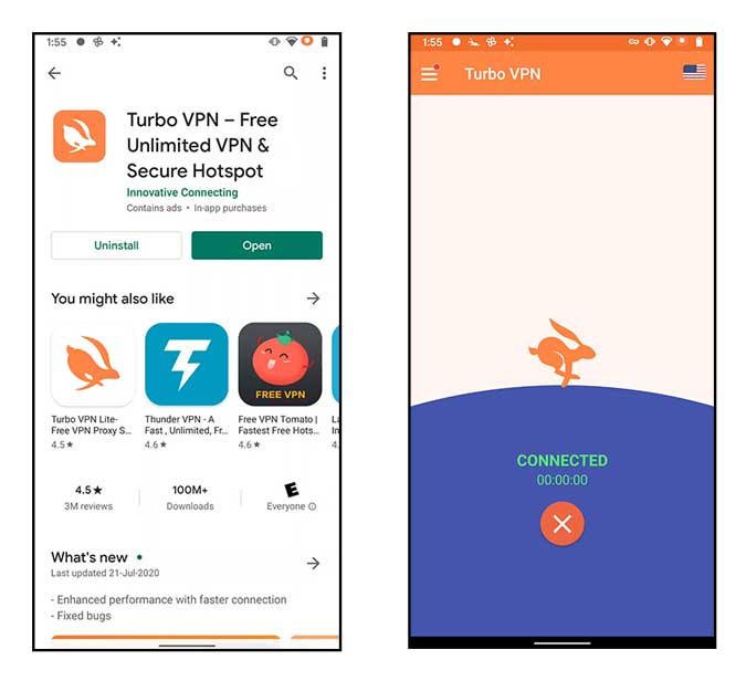 VPN connected on android