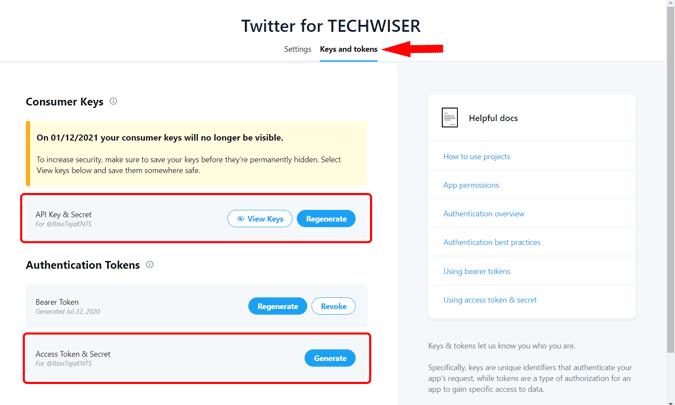 Your twitter app API Keys