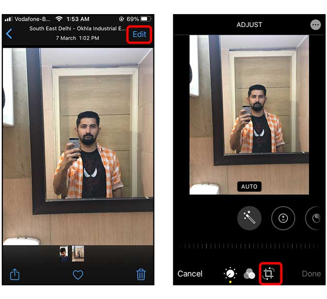 edit the image and select the crop function