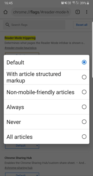 Image showing options in reading mode flag