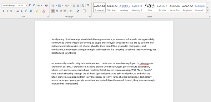 pasting copied text on Microsoft Word