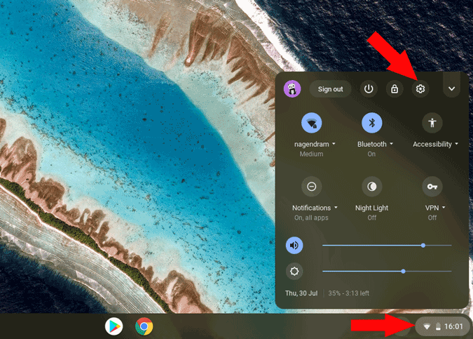 Opening settings on chromebook