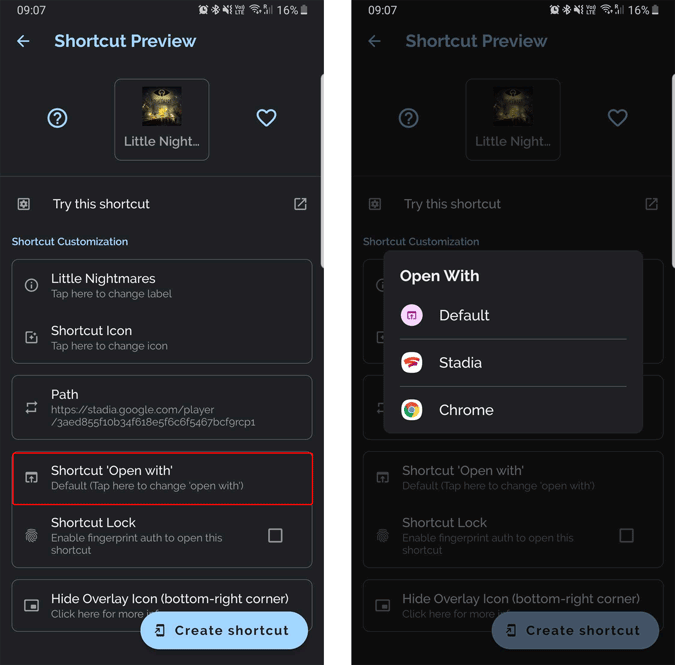 setting the shortcut to open in stadia app instead of browser
