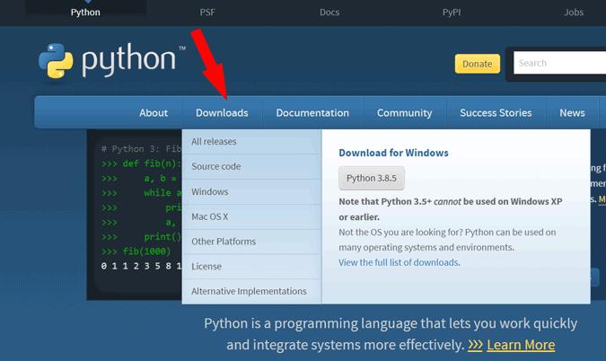 Downloading Python