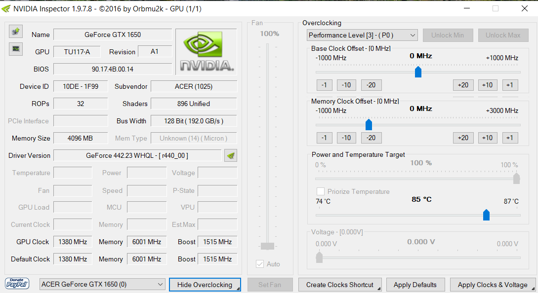 extended overclock UI in NVIDIA Inspector