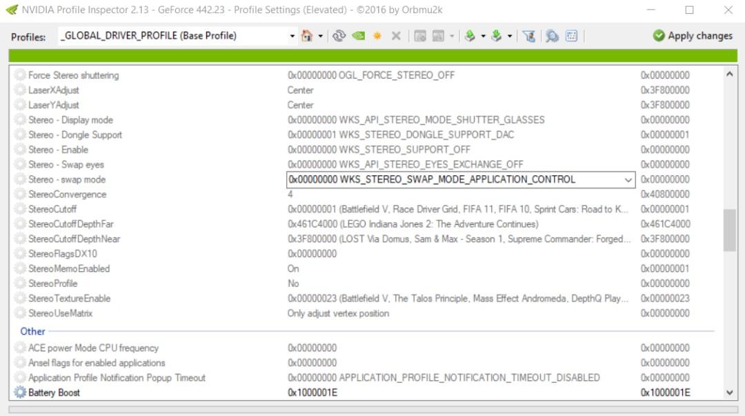 NVIDIA profile inspector editable profile settings
