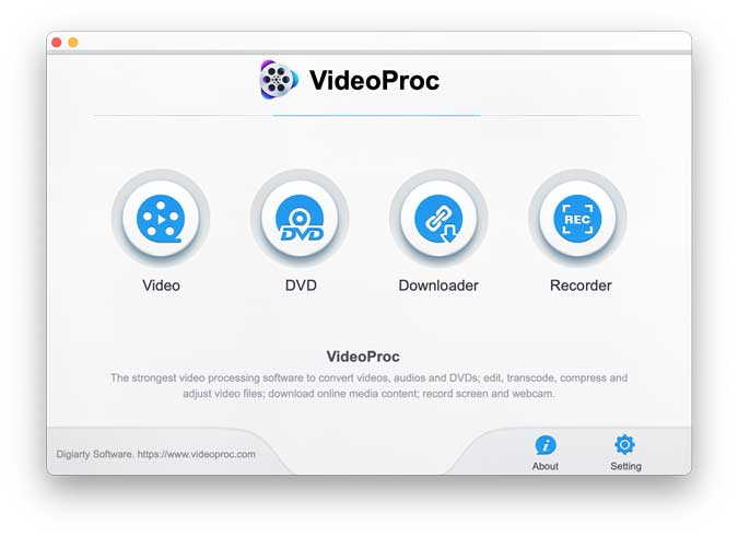 VideoProc feature window