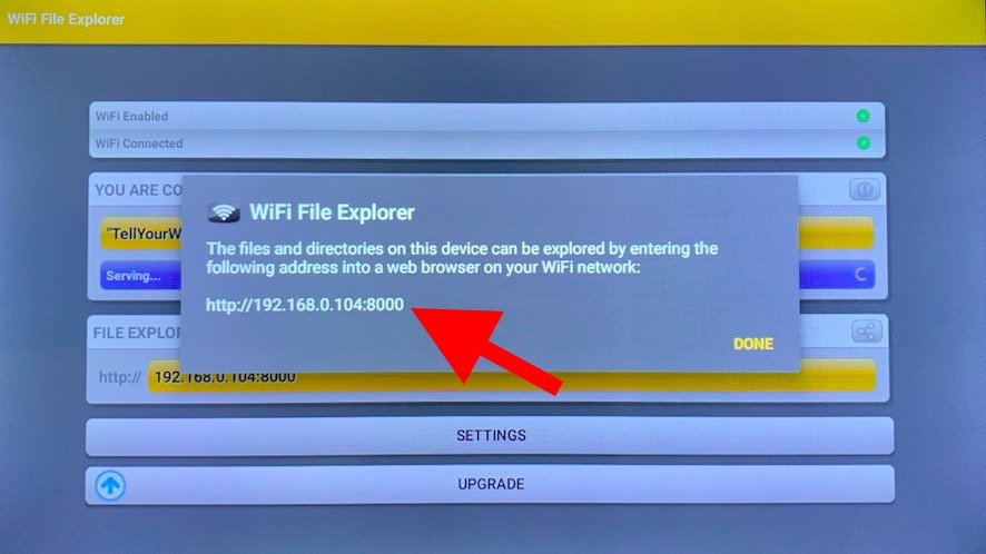 WiFi file transfer app on Android TV