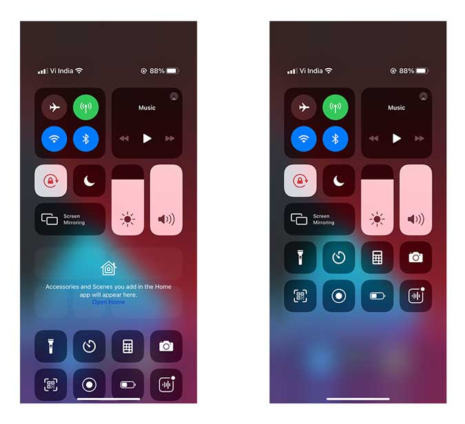 Before and After of Control Center