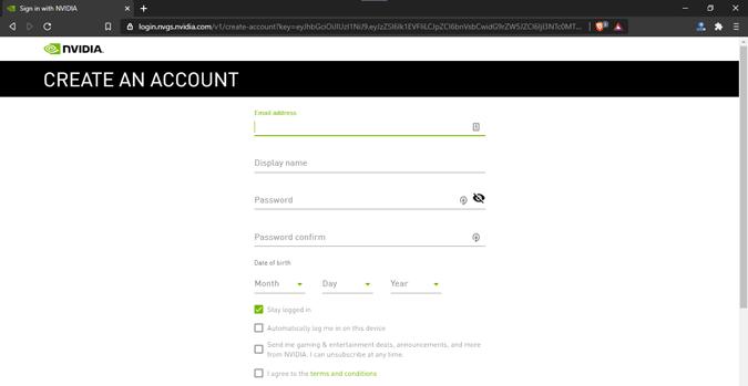 create-account-nvidia