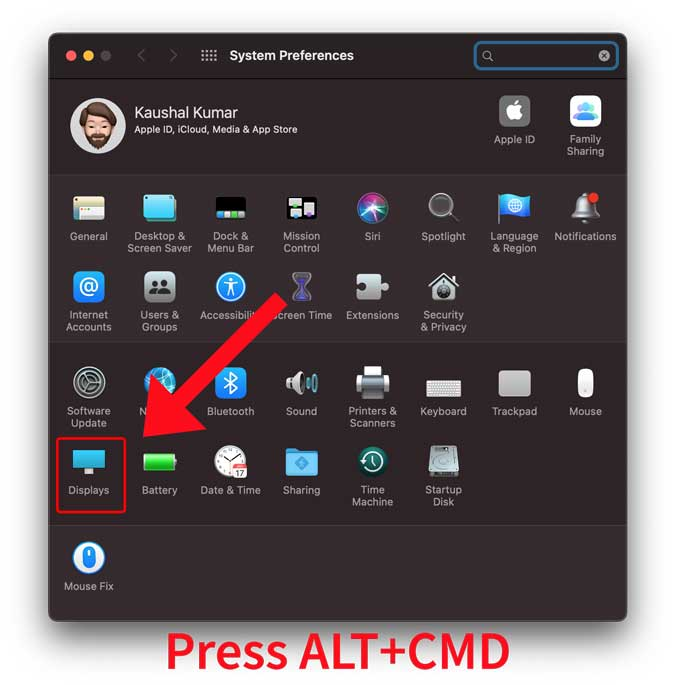 press alt+CMD and click displays