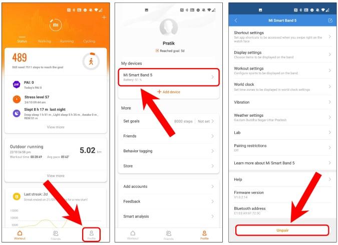 unpair-mi-band5-mi-fit-app