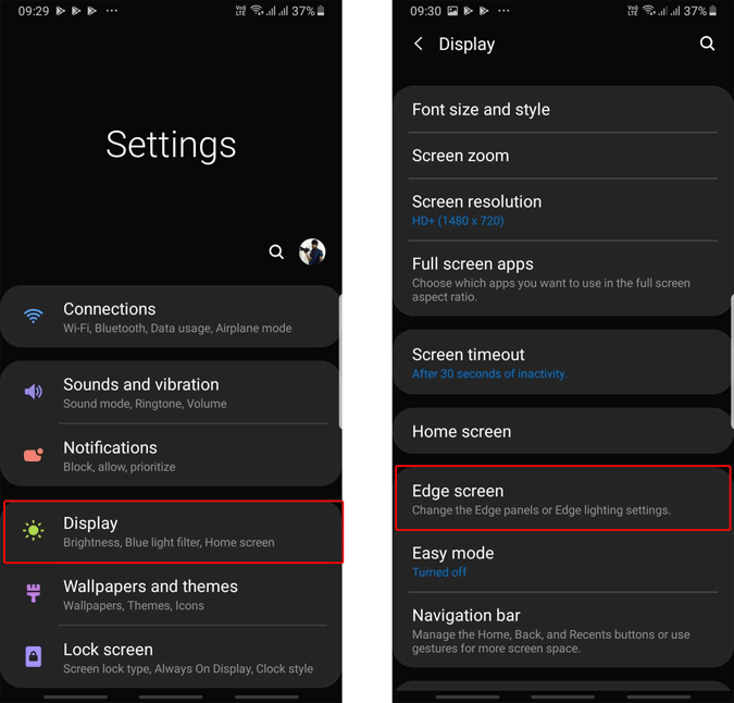 opening edge panel in Samsung system settings
