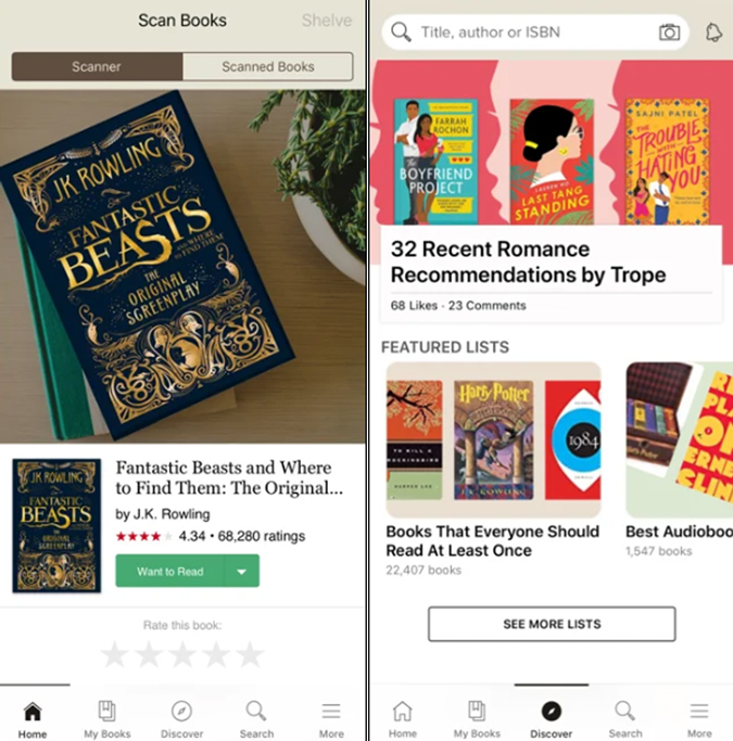 Goodreads app user interface