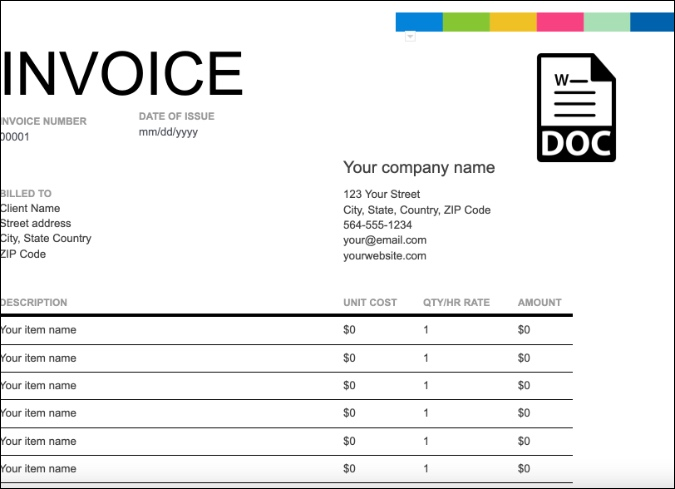 8 Best Templates To Create An Invoice In Google Docs Techwiser
