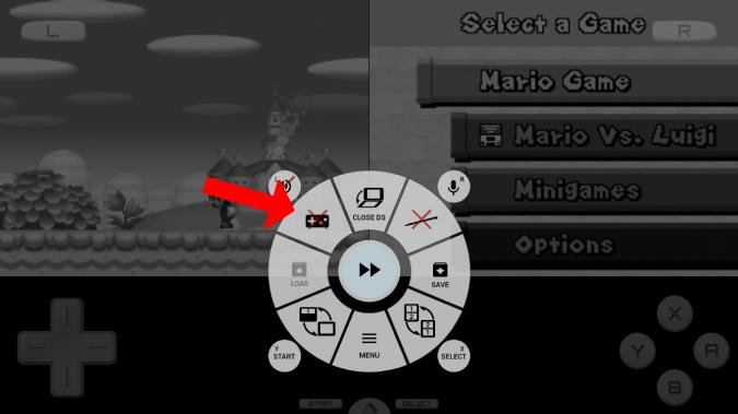 タッチを無効にする設定のゲームパッドオプション。